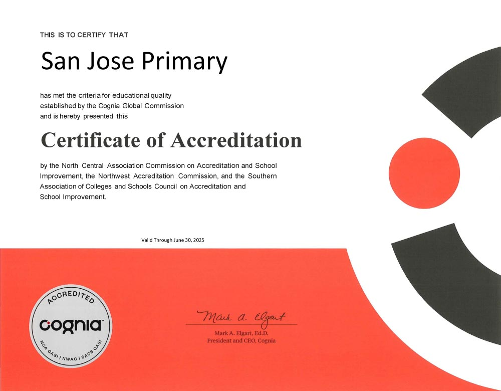 San Jose Primary Accreditation Certificate