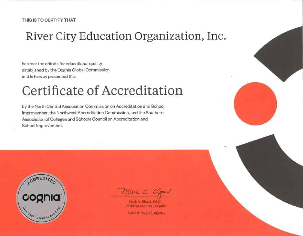 River City Educational Organization, Inc. Accreditation Certificate